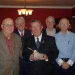 Harry Wood with all present past Golden Trowel Recipients of Hillcrest Masonic Lodge