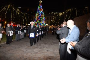 Texas Freemasons being reception at the Alamo