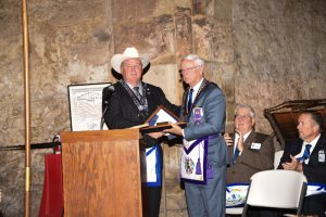 Grand Master Miller Presented with a Texas Flag that was flown over the alamo