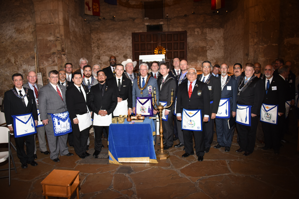 Alamo Lodge and Grand Lodge Dignitaries In the Alamo